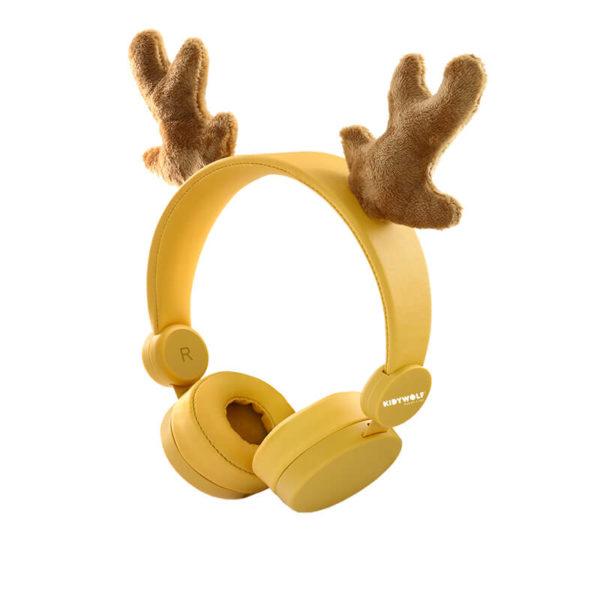KIDYEARS Cerf, casque audio personnalisé à la forme de Cerf. Les enfants pourront écouter de la musique, ou regarder un film sur une tablette ou encore écouter leur boite à histoire Lunii ou Bookinou. Le tout en s'amusant avec les oreilles amovibles et aimantées.