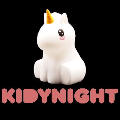 KIDYNIGHT, une veilleuse en forme de Licorne. L'indispensable veilleuse qui accompagnera et appaisera vos enfants durant leur sommeil.