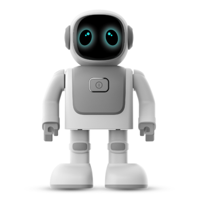 Audio loudspeaker in the shape of a robot seen from the front with eyes open